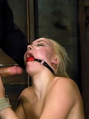 Hot blond get tied up, ass fingered and force to cum. Hogtied.