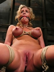 Hot MILF with HUGE nipples, gets bound and forced to cum.